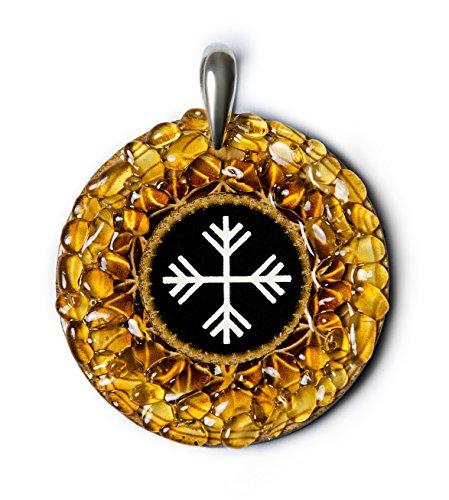 Wind - Amber Amulet met heidense Baltische teken voor verandering, wiel van het leven. Handgemaakte ketting - Spiritual New Age Pagan Baltic