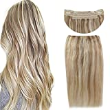 Sunny Blonde Highlighted Halo Human Hair Extensions Flish Line Color #27/613 Caramel Blonde Mixed Bleach Blonde Invisible Wire 20inch 100g/pack