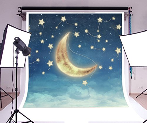 Laeacco 8x8ft Vinyl Photography Backdrop Fantasy Cartoon Illustration of Night Sky with Fantastic Moon Photo Background Children Baby Adults Portraits Backdrop