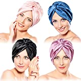 4 Pieces Silk Sleep Caps for Women Night Bonnet Headwear (Classic Colors)