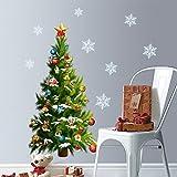 WandSticker4U- XXL Wandtattoo WEIHNACHTSBAUM mit Schneeflocken GRÜN 95x112 cm, selbstklebend Weihnachtsdeko Fensterbilder Tannen-Baum Wohnzimmer Kinderzimmer Geschäfte Deko Weihnachten