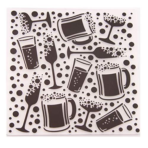 VIccoo Embossing Folder, Kunststoff Prägung Ordner Vorlage DIY Sammelalbum Fotoalbum Karte, die Dekoration Handwerk Weinglas