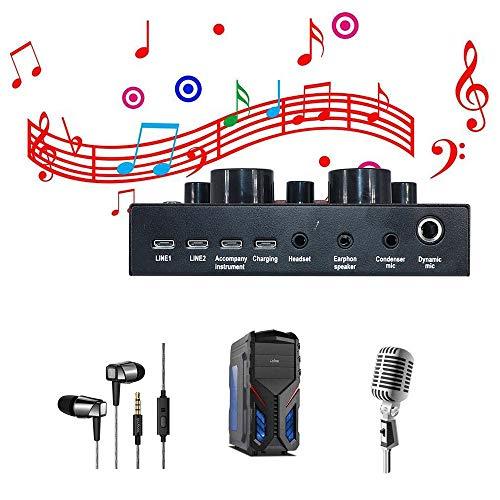 ToolmscV8ライブサウンドカード、XboxPS4PhoneiPad、YouTubeFacebookTiktokに最適、サウンドカードポータブルオーディオミキサー12サウンドエフェクト、K曲、録音、楽器とのボイスチャット