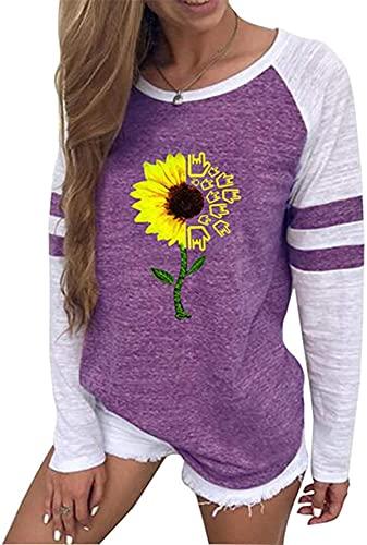Tegerri Sudaderas con estampado floral para mujer, cuello redondo, reloj de manga larga, túnica para mujer