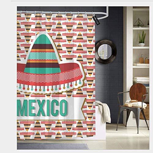 N/A Mexico Design Culturele Etnische Hoed Kostuum Traditionele Elementen Douchegordijn Badkamer Decor Set met Haken 60 x 72 inch