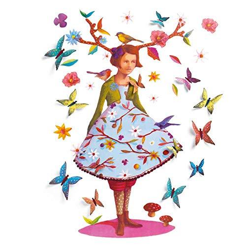 Djeco Sticker mural 3D fille rose avec papillons Décoration murale pour chambre d'enfant fille Sticker mural facile à poser et à enlever