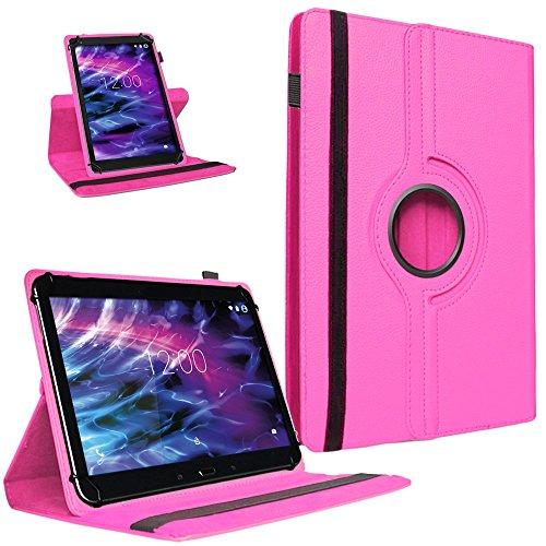 UC-Express Tablet Tasche 360° Medion LifeTab P8502 Hülle Schutzhülle Universal Hülle Cover, Farben:Pink