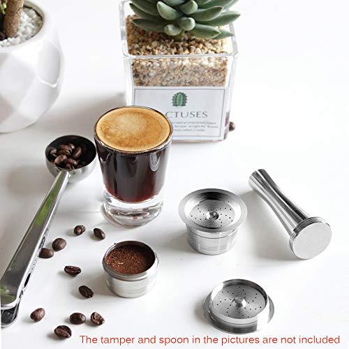 Cápsulas de café reutilizables Verdelife - Cápsulas compatibles con K-Fee Caffitaly - Cápsulas recargables de acero inoxidable con cuchara de plástico Cepillo de limpieza Anillos de silicona