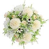 Decpro 2 Piezas de hortensias de Seda de Rosas de té Artificial, claveles de crisantemo, Ramos de Flores para Bodas, decoración de jardín de Oficina en casa, centros de Mesa(Blanco Crema)