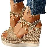 Minetom Sandalias De Plataforma para Mujer Sandalias De Cuña Zapatos De Verano con Tacón Sandalias con Correa De Tobillo Y Perlas De Diamantes De Imitación A Gold 37 EU