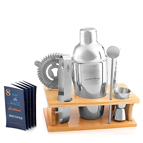 Cocktail Shaker Martini Shaker Set - Bartender Kit : Drink Shaker, Jigger, Drink Mixing Spoon, Strainer, Ice thong, Bottle Opener, Stylish Wooden Stand, Gift Box and Bounce Cocktail Recipes Book