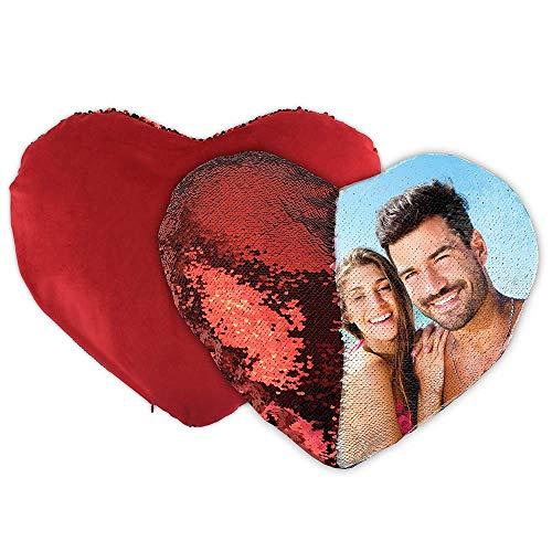 APRIL Cojín Personalizado Lentejuelas Reversible corazón Rojo