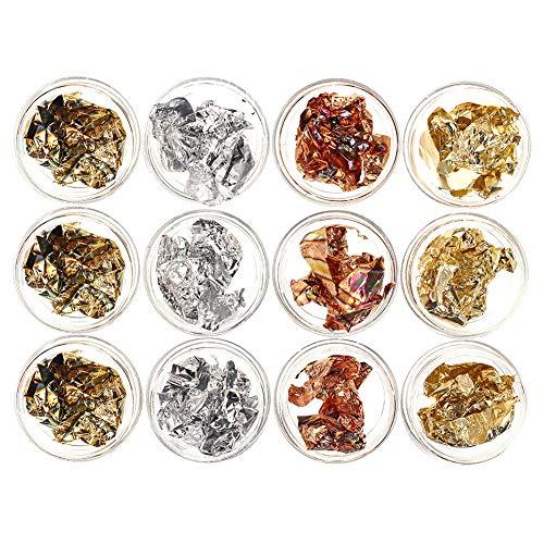 adakel 12 Döschen Blattgold Nailart Goldfolie Pailletten Glitter Nail Art Zubehör für DIY Nagel Kunst Dekorationen(2 Farben) (4 Farben)