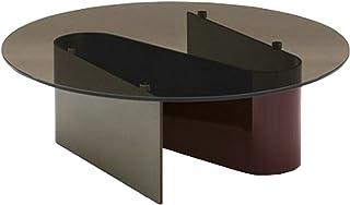 CJDM Table Basse Ronde en Verre trempé, Table à thé en Bronze Minimaliste en Forme de S, Design en Acier Inoxydable, Table...