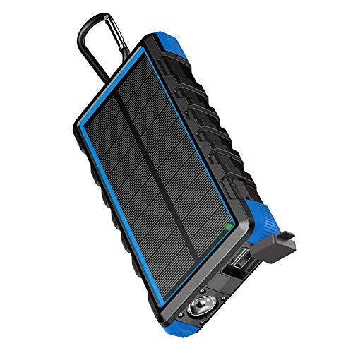 EasyAcc Powerbank 24000mAh Wasserdicht IP66 Outdoor Solar Akkupack USB C Externer Akku mit Taschenlampe für iPhone, iPad, Samsung Galaxy