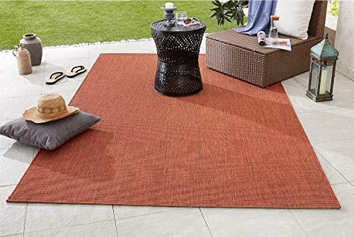 Große Auswahl Moderner Design Outdoor Teppich Wetterfest regensicher schmutzabweisend für Innenbereich und Außenbereich für Garten Balkon Terrasse Wohnzimmer 160x230 cm Größe (Terracotta-102725)