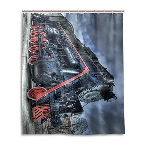 Bad Vorhang für die Dusche 152,4x 182,9cm Sun Night Vintage Dampfmaschine Tracks Train Polyester-Schimmelfest-Badezimmer Vorhang
