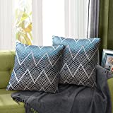 Juego de 2 Fundas de Cojín Funda de Almohada Lino de algodón Decorativa Geometría Moderna con Cremallera Invisible Funda de Cojín Juego de de Cojines para Sala de Estar Sofás (45CM*45CM Azul)