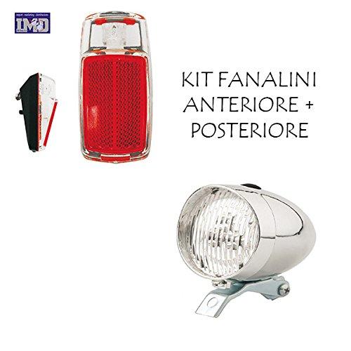 KIT Fanale Luce Anteriore + Fanale Posteriore a LED ideale bicicletta Olanda - R - Graziella -...