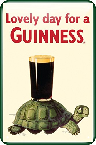 Guinness Metal Sign With Guinness Tortoise Design (20Cm X 30Cm)