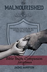 hands sharing bread, gray shield, malnourished book cover, bible study