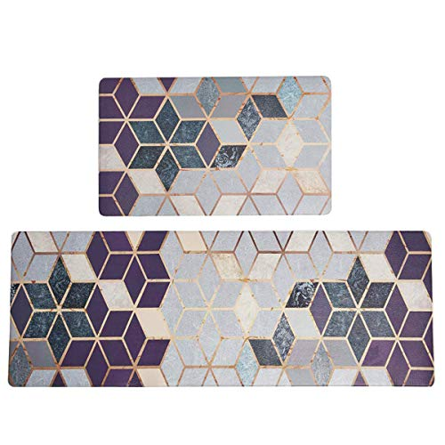 """SHACOS Kitchen Rugs Mats Set of 2 Pieces 18""""x30""""+20""""x55"""" Anti Fatigue Floor Mat Wipe Clean Waterproof Non Slip Oil Stain Resistant (Cubes)"""