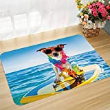 Alfombra de baño y Alfombra Antideslizante 45 * 75 cm Ride The Wave, Perro en el océano Surfing Cool Puppy Swimming Comic Imagen de Animal costero, Azu Apto para Cocina, salón, Ducha, etc.