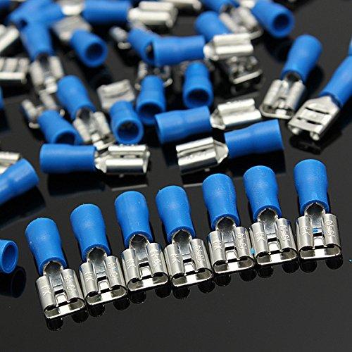 Generic Yc-uk2–151124–107 < 1 & 5558 * 1 > Trical Bleu Bêche Bleu Bêche Bornes 100 Mâle connecteur femelle 6,3 mm isolé Crimp électriques 100 Mâle FE