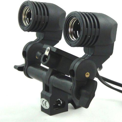 DYNASUN MM2 2in1 E27 Stativaufsatz doppel Lampenfassung Lampenhalterung Lampenhalter inkl. Halterung Schirmhalter für Studio Foto Video