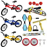 Mini Finger Toys Set ,18 Pcs Fingerboard Skateboards Bikes Ripstik Scooter Tiny Swing Board Deck Fingertip Movement Bike Party Favors for Kids as Gifts Replacement Wheels and Tools