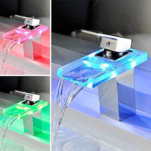 HENGMEI RGB LED Messing Wasserhahn Wasserfall Waschtisch Armatur Waschtischarmatur Küchenarmatur für Badenzimmer Küchen (Type C)