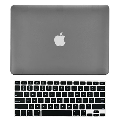 TOP CASE - 2 in 1 Signature Bundle Rubberized Hard Case and Keyboard Cover Compatible Old Generation MacBook Pro 15' with DVD Drive/CD-ROM Model: A1286 (Release 2008 - Mid 2012) - Gray