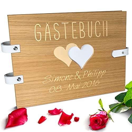 Handgearbeitetes Gästebuch zur Hochzeit aus Holz mit personalisierter Gravur & Lederverschluss |...