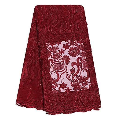 Tela africana del cordón Vestido de tul francés cordones de las señoras de novia de la boda de la tarde ropa tela del cordón de Nigeria Para vestido de novia ( Color : WINE RED , Size : 5 YARDS )