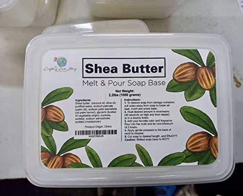 Shea Butter Melt & Pour Natural Soap Base - 2.2lbs (1000grams) Crafting Love Story Soap Base (Shea Butter Soap)