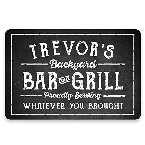 DKJN Personalized Name's Chalkboard Look Bar & Grill Metal Sign Welcome Sign Customizable Aluminum Wall Art Sign