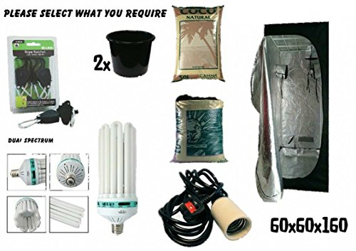 Swiftair Best Complete Hydroponic Small Grow Room Tent Canna CFL Light Kit 60x60x160 (300W; Timer; Terra 10L)