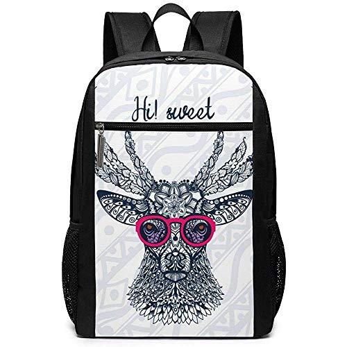 WlyFK Backpack Deer 'S Head Brillen Unisex Unique Umhängetaschen, Adult Student Double Zipper Closure Casual Schultasche