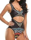 Qearal Women's Tropical Tribal Print One Piece Swimsuit Bathing Suit(M, Black)