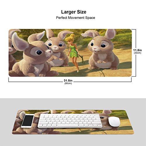 HJJL Anime Movie Tinker Bell Gaming Mouse Pad, Alfombrilla de ratón Antideslizante de Gran tamaño para Deportes electrónicos de Gran tamaño, Alfombrillas de ratón rectangulares de 11.8 x 31.5 Pulgada