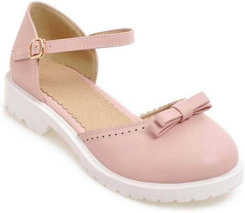 IWlxz Women's PU(Polyurethane) Summer Sweet Minimalism Sandals Chunky Heel Round Toe Bowknot White Beige Pink
