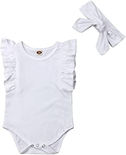 NUWFOR Infant Baby Kid Newborn Solid Ruffle Romper +Headband Bodysuit Sunsuit Outfits(White,12-18Months)