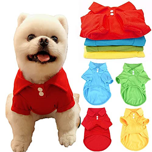 DOGGYZSTYLE 4 Pack Solid Dog Polo Tshirts Shirts Pet Puppy T-Shirt Clothes Outfit Apparel Coats Tops(M)