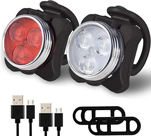 XLTOK Fahrradlicht LED,Mini Fahrradbeleuchtung,USB Wiederaufladbare Frontlicht und Rücklicht Set,wasserdichte Staubdichte Fahrradlampe,Fahrradlampe 4 Leuchtmodi.