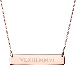 Rose Gold Plated Custom Roman Numeral Bar Necklace (16 inches)