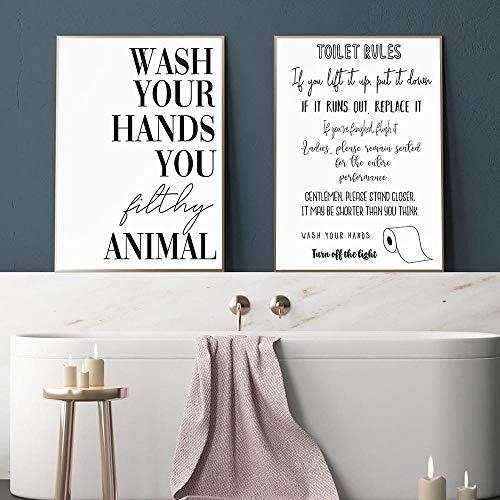 Reglas del baño Arte de la pared Pintura en lienzo Moderno Divertido Reglas del baño Cartel de la muestra Impresiones Imagen del humor del baño Decoración del baño 40X60cm / 16x24 pulgadas Sin marco