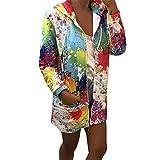 VEMOW Damen Frauen Herbst Frühling Krawatte färben Print Mantel Outwear Sweatshirt Lässig Täglichen Training Sport Kapuzenjacke Mantel(Weiß, 38 DE/S CN)