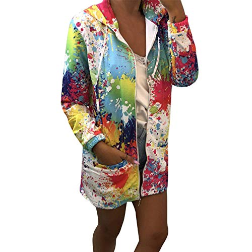 iHENGH Damen Herbst Winter Bequem Mantel Lässig Mode Jacke Frauen Mode Womens Tie Färben Print Coat Outwear Sweatshirt Kapuzenjacke Mantel(Weiß, L)