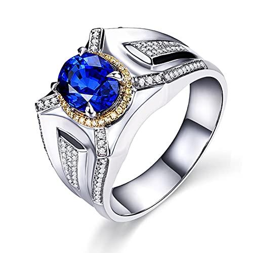 Amody Anillo de Oro Hombre 18 Kilates, Anillos Matrimonio con Diamante y Zafiro 1ct Tamaño 15