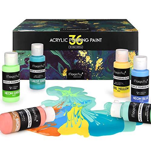 Magicfly Pintura Acrílica Pouring Set 31 Colores, 36 Botes de 60ml, Kit...